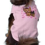 Amor de Yorkshire Terrier (pelo corto con el arco) Playera Sin Mangas Para Perro