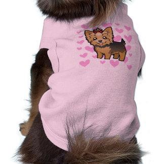Amor de Yorkshire Terrier pelo corto con el arco