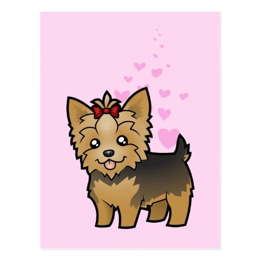 Amor de Yorkshire Terrier (pelo corto con el arco) Tarjeta Postal