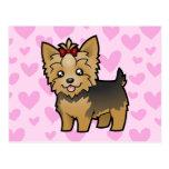 Amor de Yorkshire Terrier (pelo corto con el arco) Postales