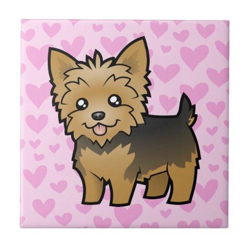Amor de Yorkshire Terrier (pelo corto ningún arco) Azulejo Cuadrado Pequeño