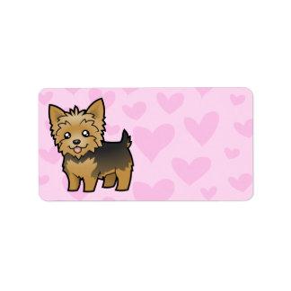 Amor de Yorkshire Terrier (pelo corto ningún arco) Etiqueta De Dirección