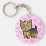 Amor de Yorkshire Terrier (pelo corto ningún arco) Llavero Redondo Tipo Pin