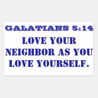 Amor del 5:14 de Galatians su vecino Pegatina Rectangular
