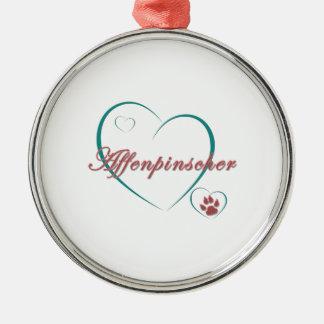 Amor del Affenpinscher Adorno Redondo Plateado