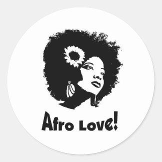 Amor del Afro Pegatina Redonda