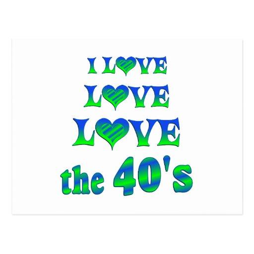 Amor del amor los años 40 tarjeta postal