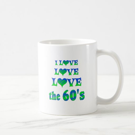 Amor del amor los años 60 tazas de café