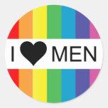 amor del arco iris. hombres del corazón i pegatina redonda