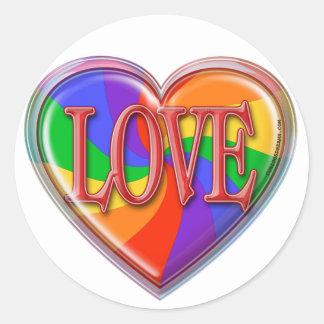 Amor del arco iris etiquetas redondas