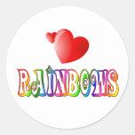 Amor del arco iris pegatina redonda