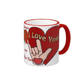 Amor del ASL (personalizado) Taza De Dos Colores