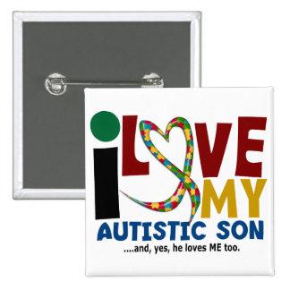 Amor del AUTISMO I mi hijo autístico 2 Pin Cuadrada 5 Cm