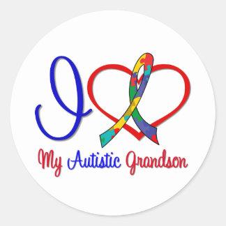 Amor del autismo I mi nieto autístico Pegatina Redonda