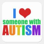 Amor del autismo calcomanía cuadradas personalizada