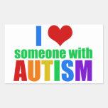Amor del autismo rectangular pegatinas