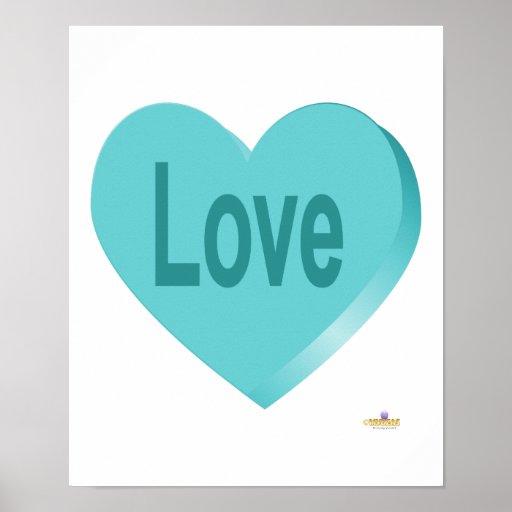Amor del azul del corazón del caramelo impresiones
