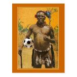 Amor del balón de fútbol de los jefes del guerrero tarjeta postal