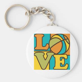 Amor del baloncesto llavero redondo tipo pin