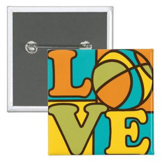 Amor del baloncesto pin cuadrada 5 cm