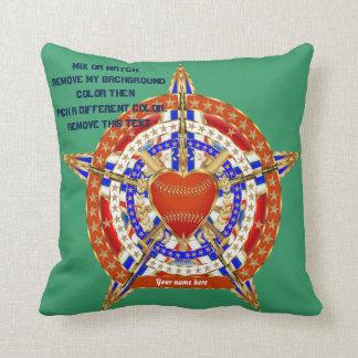 Amor del béisbol y indirectas patrióticas de la cojín decorativo