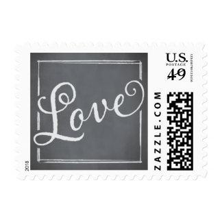 Amor del blanco de la escritura de la pizarra sellos postales