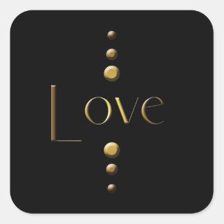Amor del bloque del oro de 3 puntos y fondo negro pegatinas cuadradases