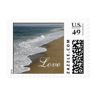 Amor del boda de playa sellos postales