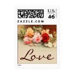 Amor del boda del vintage, arte color de rosa anti sello