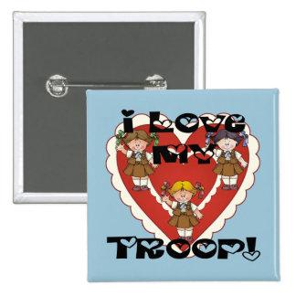 Amor del brownie I mi corazón de la tropa Pin Cuadrada 5 Cm
