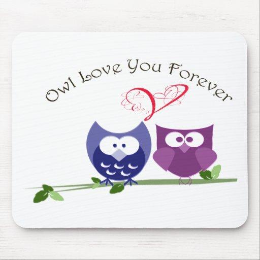 Amor del búho usted para siempre, búhos lindos de  mouse pad