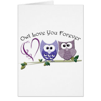 Amor del búho usted para siempre, los búhos y el tarjeta de felicitación