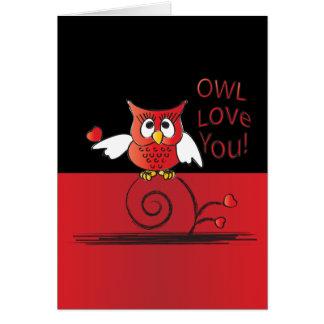 Amor del búho usted tarjeta del día de San