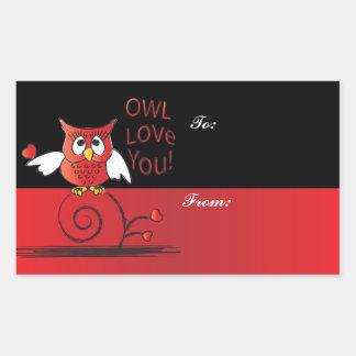 Amor del búho usted tarjeta del día de San Pegatina Rectangular