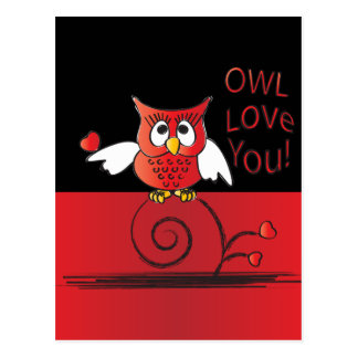 Amor del búho usted tarjeta del día de San Tarjetas Postales
