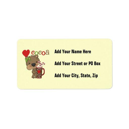 Amor del cacao del oso del chica etiquetas de dirección