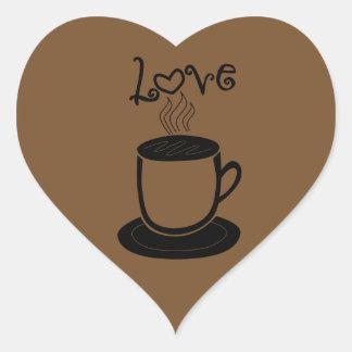 Amor del café - cambie el color pegatina en forma de corazón
