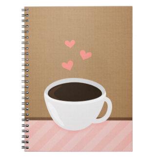 Amor del café libros de apuntes con espiral