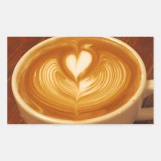 Amor del café pegatina rectangular