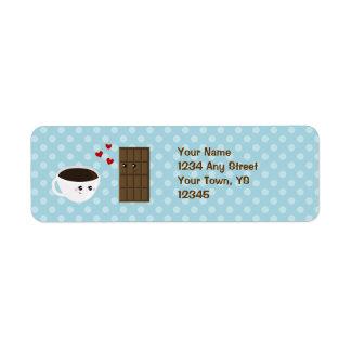 Amor del café y del chocolate etiquetas de remite