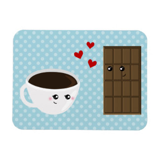 Amor del café y del chocolate iman de vinilo