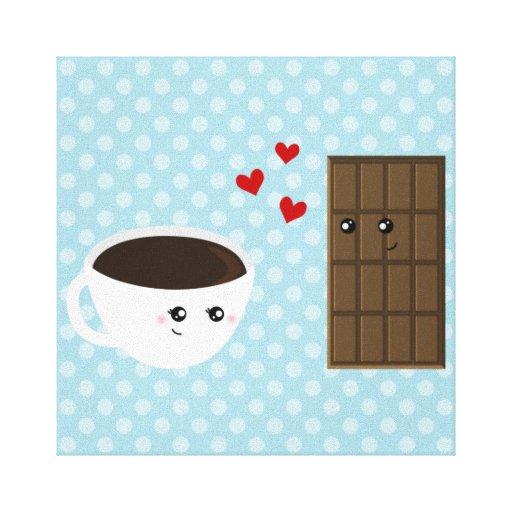 Amor del café y del chocolate impresión en lona estirada