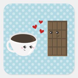 Amor del café y del chocolate pegatina cuadrada