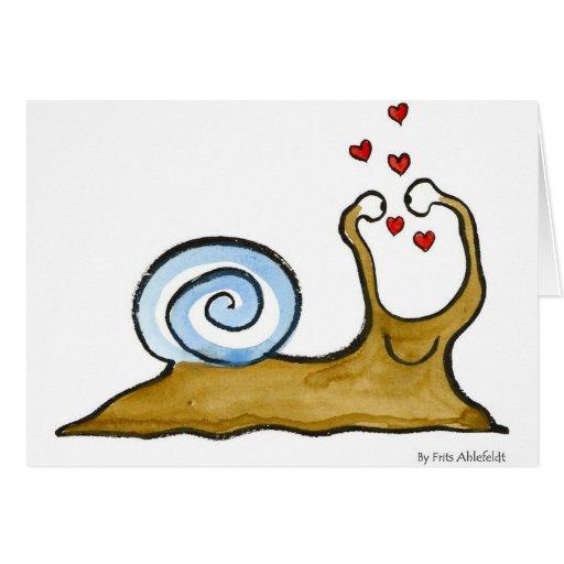 amor del caracol tarjeta de felicitación