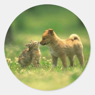 amor del catdog pegatinas redondas