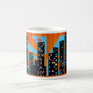 amor del centro urbano taza de café