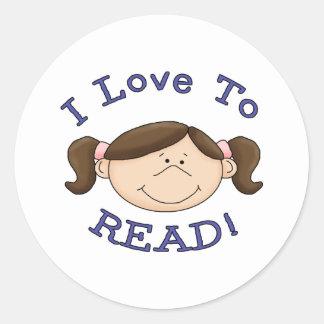 Amor del chica I para leer las camisetas y los Pegatina Redonda