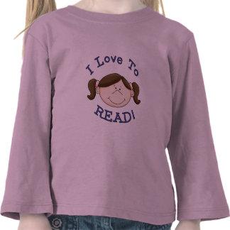 Amor del chica I para leer las camisetas y los reg