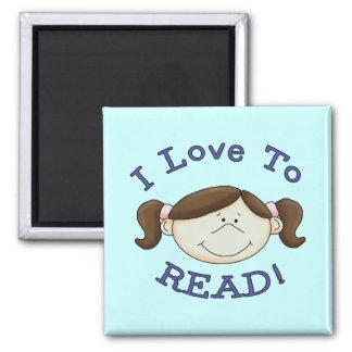 Amor del chica I para leer las camisetas y los reg Imán Cuadrado