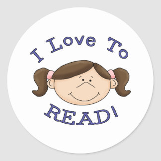 Amor del chica I para leer las camisetas y los reg Pegatinas Redondas